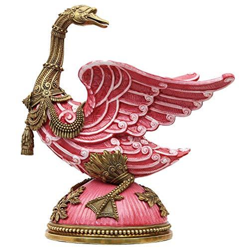 aubaho Porzellanfigur Messing Gans Vogel Porzellan Skulptur Antik-Stil - 37cm (b)