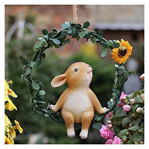 WQQLQX Statue Gartenskulptur Ornamente Outdoor Statue Hoop Bunny Tierharz Figuren Handwerk Anhänger...