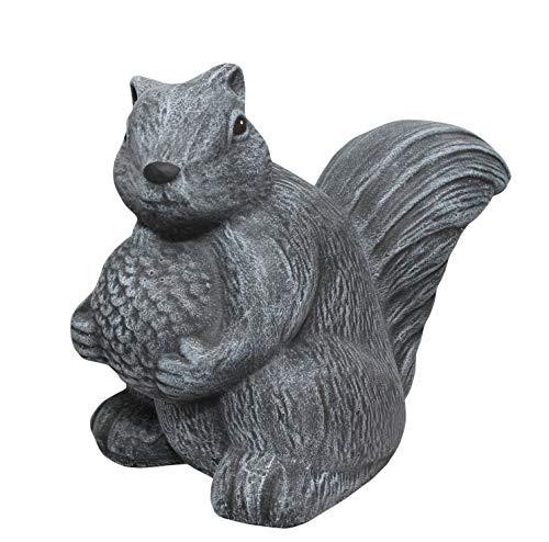 Tiefes Kunsthandwerk Steinfigur Eichhörnchen - Schiefergrau, Deko Figur Garten Stein Frostsicher