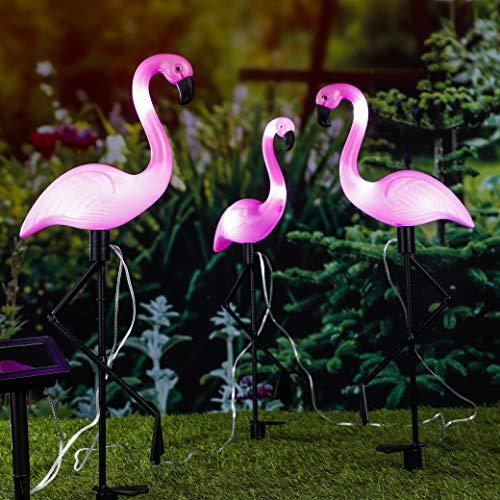 Garten-Beleuchtung Gartenfigur Design Solarleuchte Flamingo 3er Set Höhe 52 cm LED SOLAR Sensor NEU