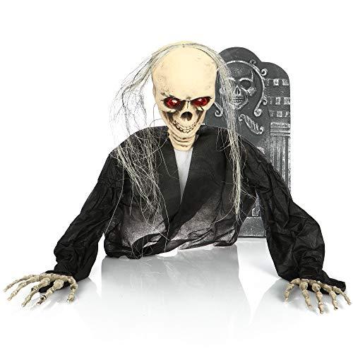 com-four® Deko Skelett für Halloween - Grabstein mit Skelett aus Kunststoff - Skelett mit...