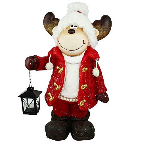 dszapaci Weihnachtsdeko Figur Elch Deko Weihnachten XL 48cm mit Laterne für Teelicht am Hauseingang...