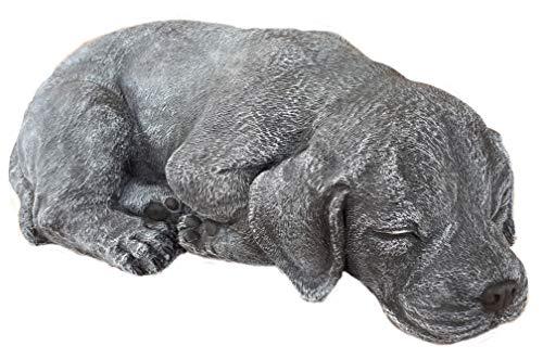 Steinfiguren Spicker Steinfigur Hund schlafend 191/1, Gartenfigur Steinguss Tierfigur Basaltgrau