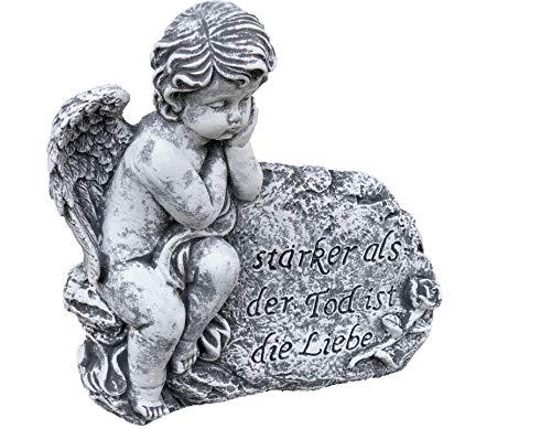 Stone and Style Grabschmuck Steinfigur Engel am Fels mit Trauerspruch, massiver Steinguss, Frost-...