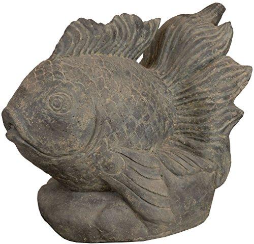 korb.outlet Wasser-speier Feuer-Fisch Steinguss/Teich-Figur 60cm / Skulptur für Haus, Garten und...