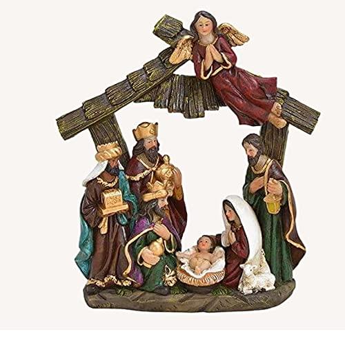 RiloStore Tischkrippe Krippe 20x18x7cm Krippenszene nr163 Natur braun grau Deko Figuren Christus...