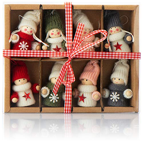 com-four® 8X Premium Wichtel-Anhänger für den Weihnachtsbaum, Bezaubernde Christbaum-Figuren...