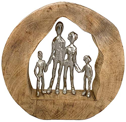 Moritz Skulptur Familie Family 29 x 7,5 x 28 cm schöne Dekoration Dekofigur Harmonie Mango Holz...