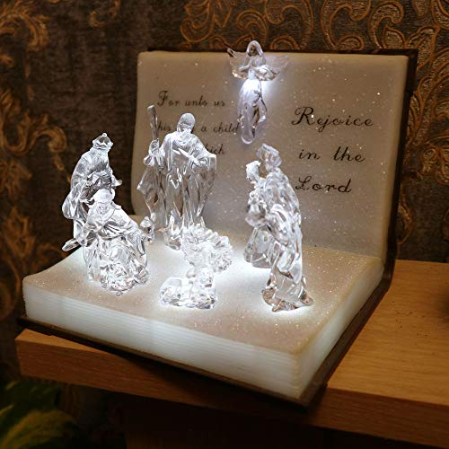 SHATCHI Weihnachtliche Weihnachtskrippe mit LED-Beleuchtung, Acryl, batteriebetrieben, 19 cm