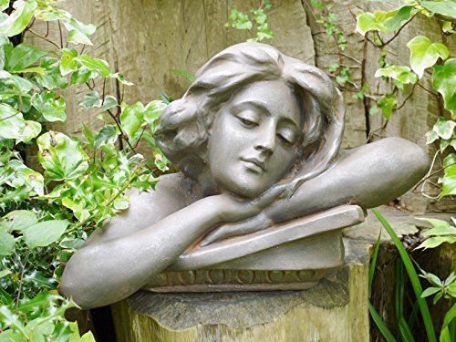 Frauenkopf Torso Büste Statue Garten Ornament Lady Skulptur Große Harz 46 cm