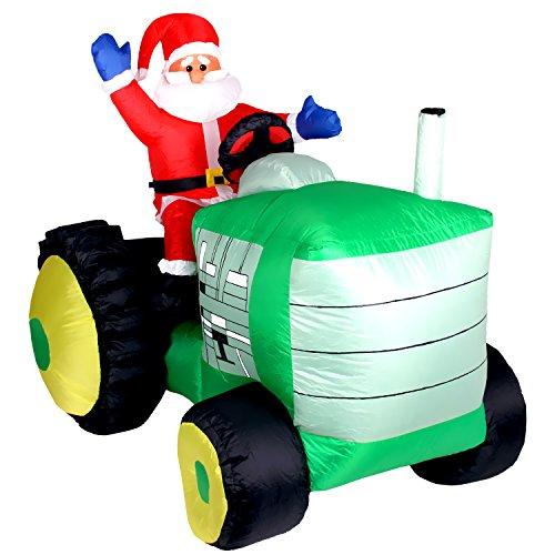 Pridea 150cm Weihnachtsmann auf Traktor aufblasbare Weihnachtsdeko Aussendeko Innendeko...