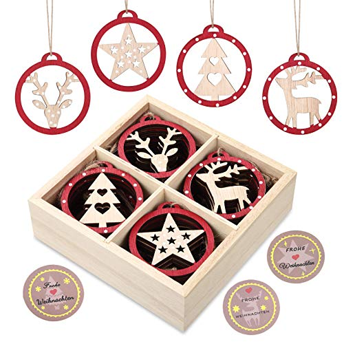 KOHMUI Christbaumschmuck Holz Set, Weihnachtsdeko Anhänger, Weihnachtsdekoration Baumschmuck zum...