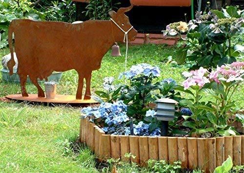 Rostikal   Rost Deko Kuh aus Metall   Edelrost Tierfigur zur Gartendekoration   100 x 75 cm