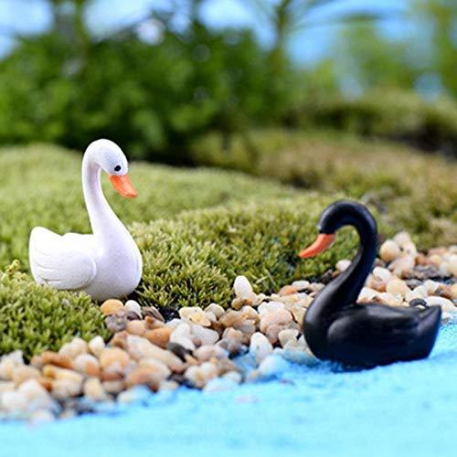FUSSUF 2ST Swan Garden Ornament Miniatur-Figur Blumentopf-Fee-Garten Decor Weiß Schwarz