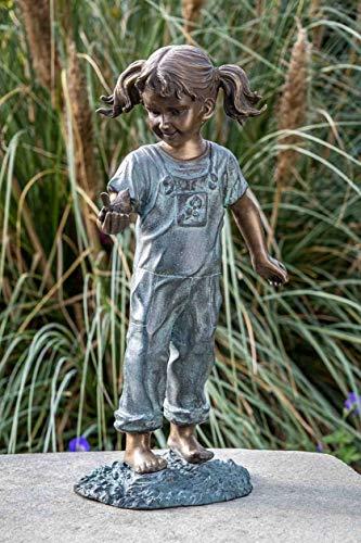 IDYL Bronze-Skulptur Mädchen mit Vogel in der Hand | 50x27x20 cm | Kinderfigur aus Bronze...
