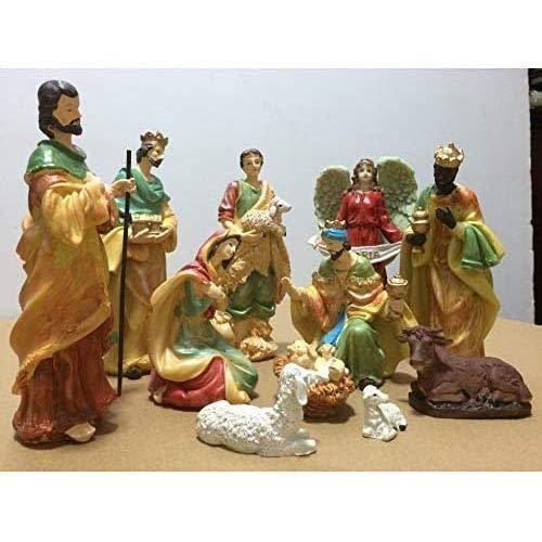 LYTBJ Exquisite 11 Stück Miniatur Exquisite Weihnachtskrippe im Krippen-Set Figur Handgemachtes...