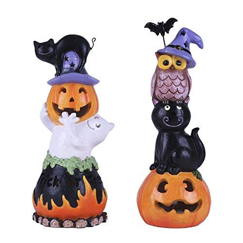 VALERY MADELYN 2er Set Halloween Dekorationen, Neuheit Harz Kürbis, Halloween Statuen Figuren...