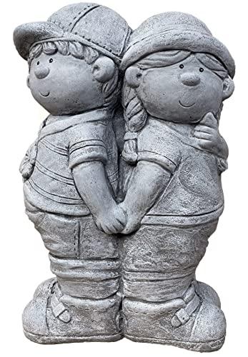 stoneandstyle Steinfigur Junge und Mädchen frostfest Steinguss 20,5 kg