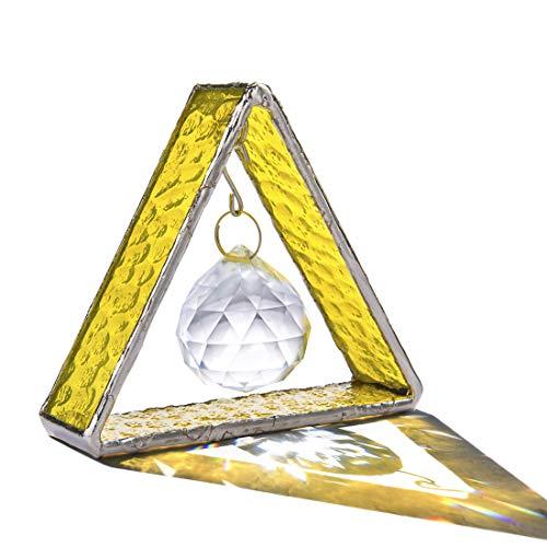 H&D Stehende Glasmalerei Pyramide Sonnenfänger mit 30mm Kristallkugelprisma,Hängendes Fenster...