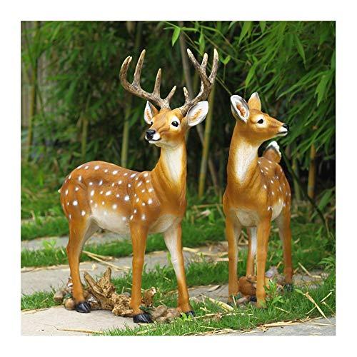 WEN Niedliche Sikahirsch Tier Skulptur Outdoor Garten Ornament, Garten Statue Rasen Ornament,