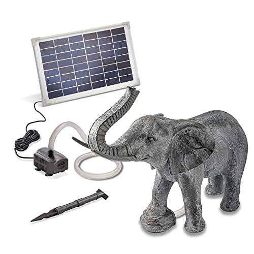 Solarbetriebener Wasserspeier Elefant - inkl. Solar Teichpumpe 12 Watt 650 l/h - Maße ca. 550 x 270...