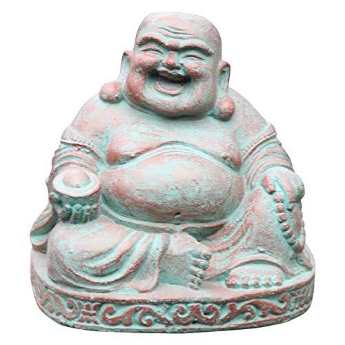 Ciffre Kleiner Happy Buddha Stein Figur 18cm - 20cm 5 Kilo Antik Look Massiv Steinfigur Skulptur...