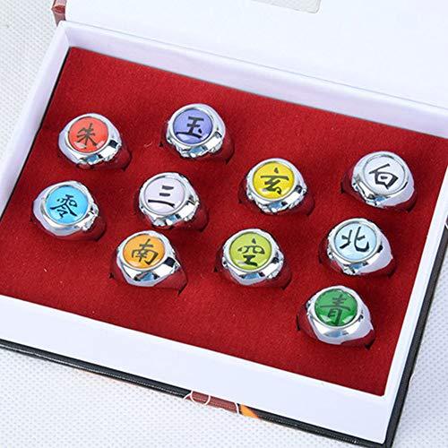 Phoetya Naruto Akatsuki Ring-Set, Naruto-Ring, mit Kette, für Cosplayer, 10 Stück