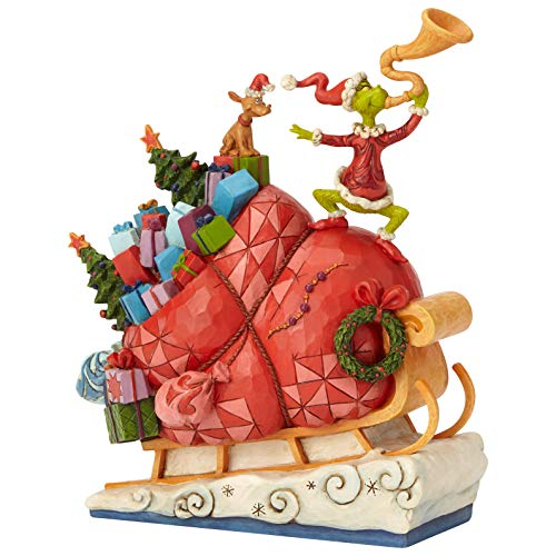 Enesco Dr. Seuss The Grinch by Jim Shore Sleigh Figur, Mehrfarbig, 9.13'