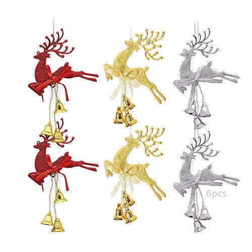 TDCQ 6pcs Weihnachtsdeko Anhänger,Weihnachtsschmuck Elch,Christbaum Anhänger,Weihnachtsbaum...