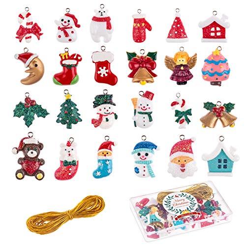 MELLIEX 24 Stück Weihnachten Miniatur Anhänger, Christbaumschmuck Harz Ornamente DIY...