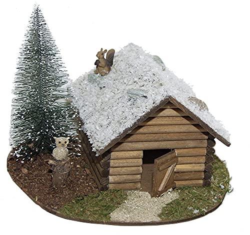 KLB Krippenzubehör Weihnachtskrippe Krippenstall Schneehütte mit Baum, Eule, Eichhörnchen