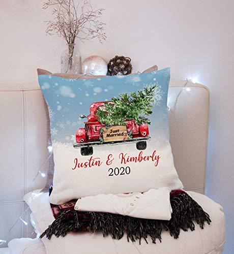 None-brands Christbaum Kissen Christbaum Christbaum Ornament Married with Red Truck Christmas Truck...
