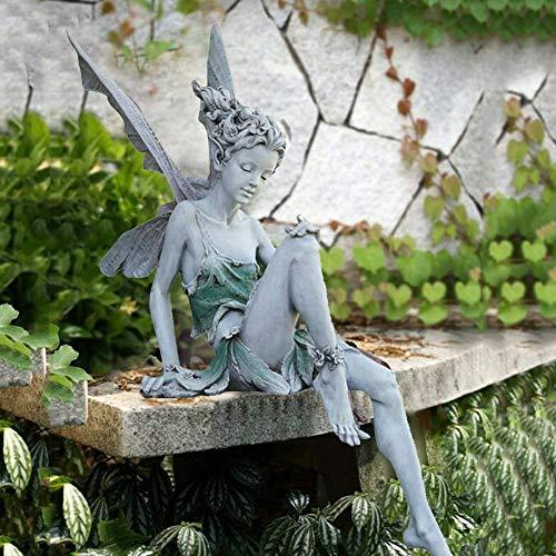 DHYED Gartenfiguren füR AußEn,Blumenfee Skulptur Garten,Landschaftsbau Harz Sitzen Statue...