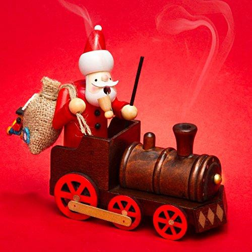 SIKORA RM-A01-LOK Holz Räuchermännchen Weihnachtsmann in der Lokomotive