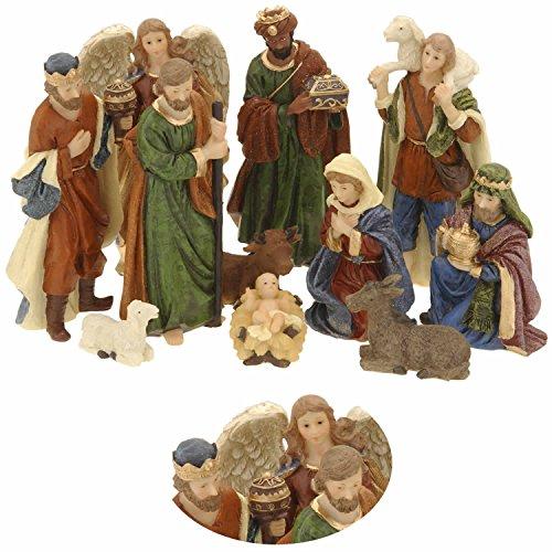 LS-LebenStil Krippenfiguren Set 11teilig Weihnachten Krippe Maria Josef Jesus