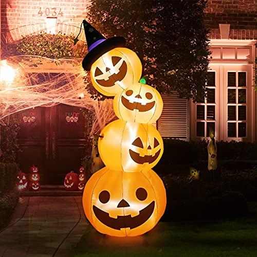 Kalolary 8 Fuß hög Halloween Uppblåsbara Pumpadekorationer, Blow Up Pumpa Lanterns Dekorationer...