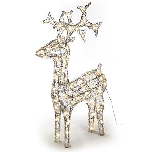 Nipach GmbH Rentier beleuchtet Acryl 120 LED warm weiß Deko-Figur 100 cm Trafo Leucht-Elch...