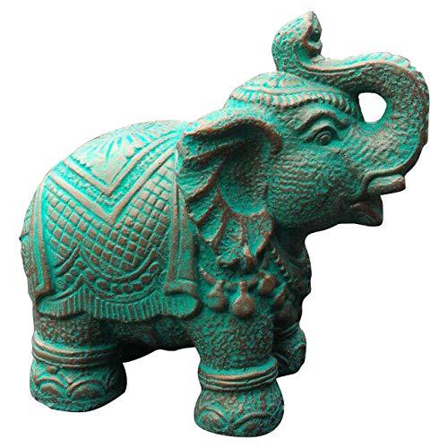 Ciffre Elefant Stein Grün ca. 30cm Antik Look Massiv Steinfigur Skulptur Feng Shui Garten Deko...