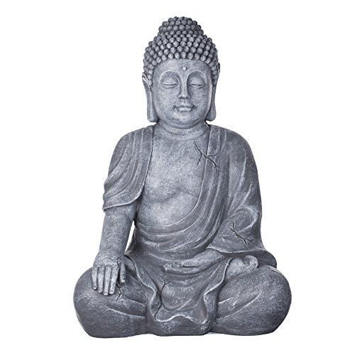 Buddha B4016S Steingrau, Buddha Figur XL 54cm hoch Buddha Statue groß, Büste, Gartendekoration,...