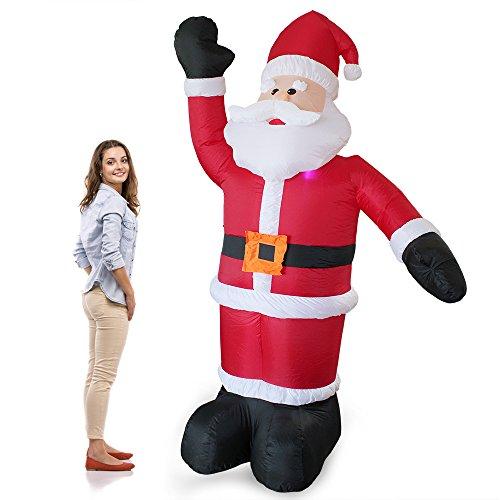 [en.casa] Riesiger Weihnachtsmann 240cm LED Beleuchtet Weihnachten Nikolaus Lebensgroß