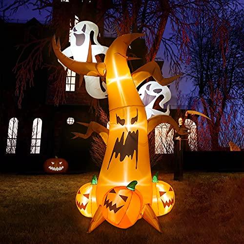Kalolary 8 Fuß Halloween Aufblasbare Dekoration, Halloween Aufblasbarer Gruseliger Baummit Geistern...