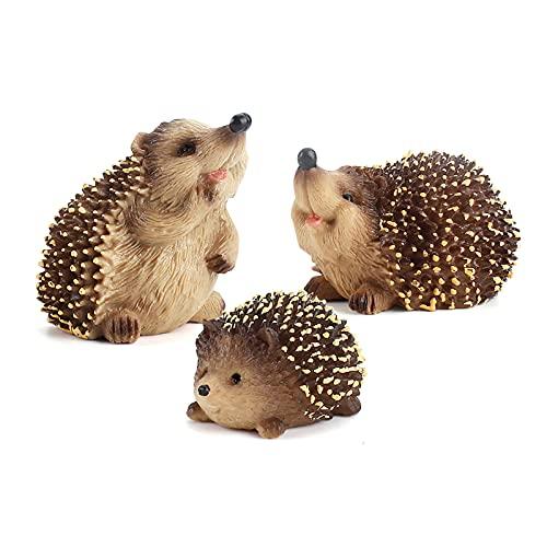 Deepboom Dekoset Igel Figurine 3 Stück Set Gartentiere Figuren süße Igel Hedgehog Skulptur Deko...