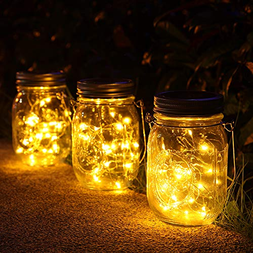 3 Stück Solarlampen fur Garten -30 LED Wetterfest Solar Einmachglas Aussen Lampions, Lichterkette...