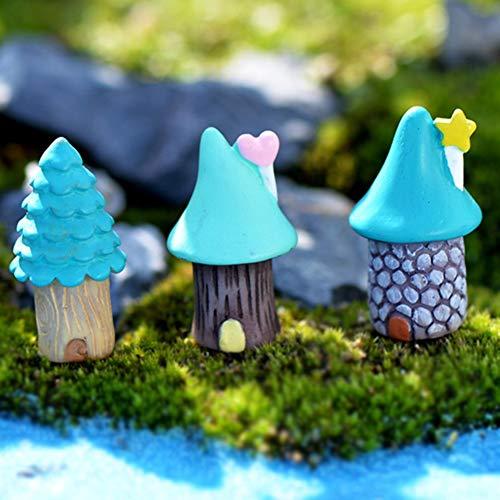 FUSSUF 3Pcs / Set Vintage Blue Haus Miniatur-Craft-Fee-Garten Ornamente Bonsai Micro Landschaftsbau...