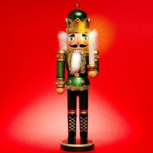Sikora NK-C aufwändig gestalteter XL Deko Nussknacker aus Holz mit LED Kerze und Fernbedienung,...