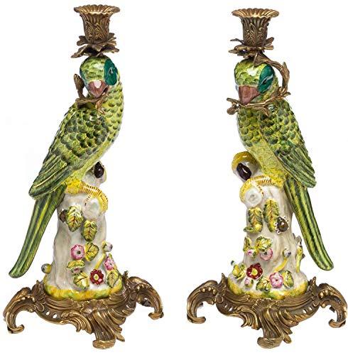 aubaho Paar Papagei Kerzenständer Porzellan antik Stil Kerzenleuchter 37cm Candlestick