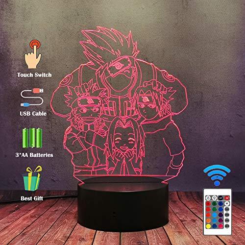 Naruto Anime LED Nachtlicht, Kakashi Itachi Sasuke Hatake Nara Shikamaru Ninja 16 Farben...
