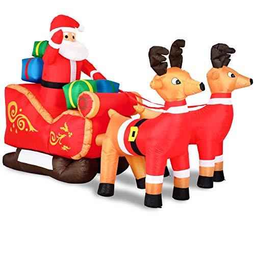 Monzana Aufblasbarer Weihnachtsmann mit Schlitten LED Beleuchtet Rentiere Weihnachten Santa Deko...