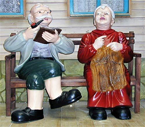 XXL Premium Oma Opa auf Bank lebensgross 120cm Garten Deko Figur inkl. Spedition