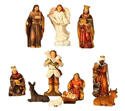 Geschenkestadl Krippenfiguren 11-teiliges Set Krippe Figuren bis 8,5 cm Weihnachten Maria Josef...